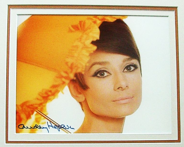 36 Year Old Audrey Hepburn Signed 8 x10 Glossy Color Photo Photo, framed.