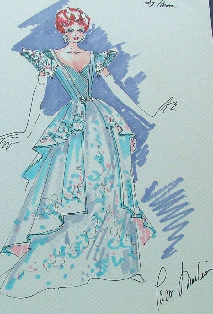 Debbie Reynolds costume sketch by Paco Macliss for her stage show