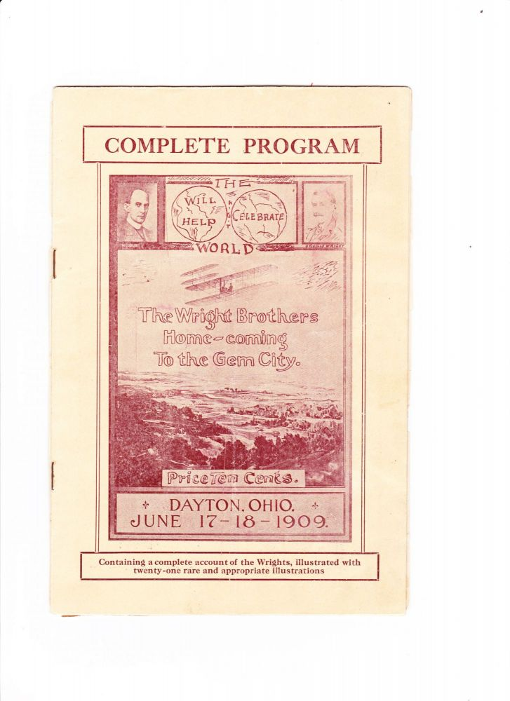 """Wright Brothers Complete Program for the """"Wright Brothers Home-coming to the Gem City,"""" held in Dayton, OH on June 17-18, 1909."""