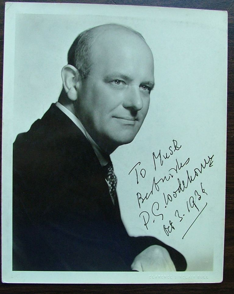 A signed photo of P G Wodehouse