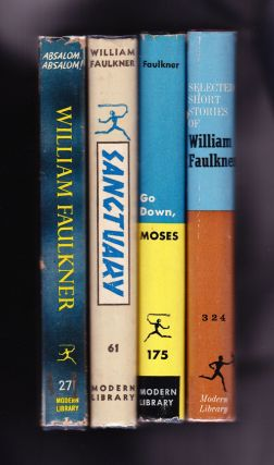 4 titles: Absalom, Absalom; Sanctuary; Go Down Moses; Selected Short Stories. William Faulkner