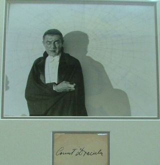"Bela Lugosi Signed Paper as ""Count Dracula"" With an Original 8""x 10"" Photo of Lugosi as Dracula - From Forrest Ackerman's Estate. Archivally Framed Using Museum Glass"