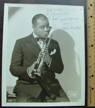 A Young Louis Armstrong Signed 8x10 Matte-Finish Photo