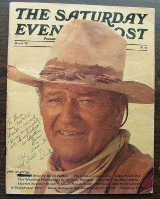 John Wayne, signed Saturday Evening Post magazine