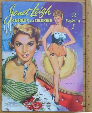 Janet Leigh - original art for a cut-out and coloring book, 2 books in one