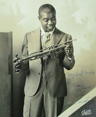 "Louis Armstrong, a beautiful signed 8"" x 10"" matte finish photo of young Louis, 1932"