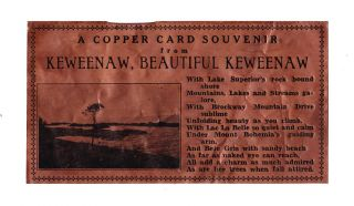A Copper Card Souvenir from Keweenaw, Beautiful Keweenaw
