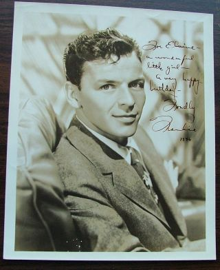 "Frank Sinatra, The Voice, A beautiful sepia tone 8 x 10 photograph, inscribed with a birthday wish and signed, ""Frankie 1946"""