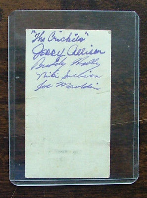 Buddy Holly - Norman Petty business card signed by Buddy Holly and the Crickets in 1957, with provenance and PSA-DNA COA